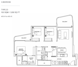 coastline-residences-3-bedroom-floor-plan-c1-singapore